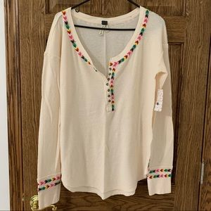 Free People Henley with Rainbow Detail